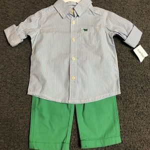 Carter's Baby Boy Bitton Down Shirt & Green Pants